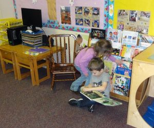 Enjoying books at preschool